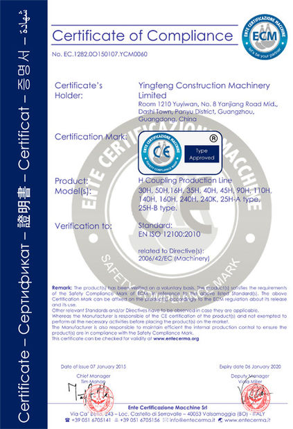 Çin GUANGZHOU XIEBANG MACHINERY CO., LTD Sertifikalar